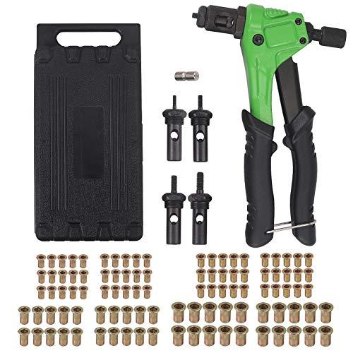 """AUTOUTLET Blindnietzange Set, Profi Hand Nietzange mit M3 M4 M5, M6 Dorne und 100psc Nieten, 8"""" Nietmutternpistole mit Werkzeugbox, Hand Riveter Rivet Gun Riveting Tools"""