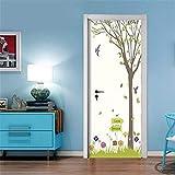 Tree Bird Nordic Letter Door Stickers Autoadhesivo PVC Warehouse Slider Door Wallpaper Etiqueta de renovación impermeable para muebles