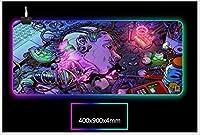 RGBゲーミングマウスパッド特大キーボードLEDマウスマット、滑り止めラバーベースのアニメロボット大型プロフェッショナル、厚さ4mm800x300mm