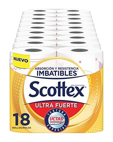 Scottex Papel de Cocina Ultra Fuerte - Pack de 18 Rollos - 74 Hojas por Rollo