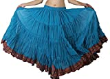 Dancers World Ltd - Falda de Baile de Vientre de 25 Yardas, Falda de Baile de fusión Tribal, Hippy Boho Festival, Azul