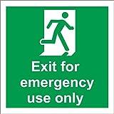 INDIGOS UG - Pegatina - Seguridad - Advertencia - 5 Set - Señal de seguridad de salida para uso de emergencia sólo 150 mm x 150 mm