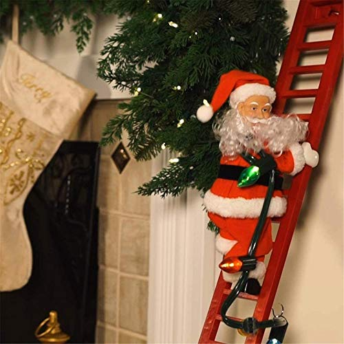 ZGHYBD Christmas Electric Santa Claus Climbing Ladder Doll Music Xmas Creative Decor,Christmas Super Climbing Santa Holiday Decor, Party Decoration