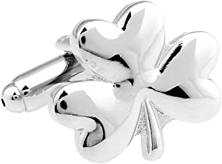Mens Executive Cufflinks Silver Tone Young Spring Shamrock Clover Cuff Links
