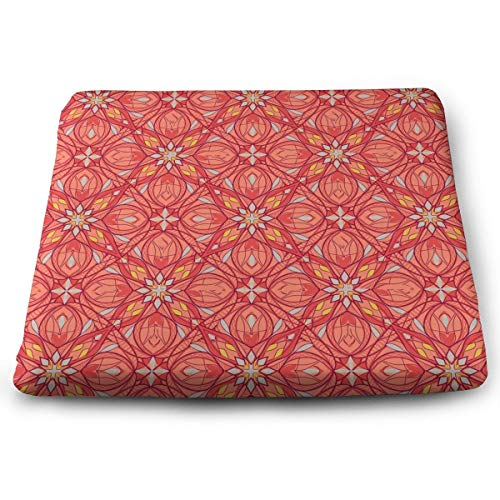 Lfhytd Geometric Patterns Square Cotton Seat Cushion with Invisible Zipper Popular Handicrafts Pillow Dog-Pets Bed Comforts Washable Cushion Office Chair Car Wheelchair Sitting Anti-Slip Pillow