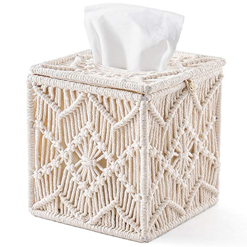 Mkono Tissue Box Cover Boho Decor Square Paper Tissue Holder with Bead Buckle Macrame Napkin Tissues Organizer Home Decor for Bathroom Bedroom Dresser Living Room Office
