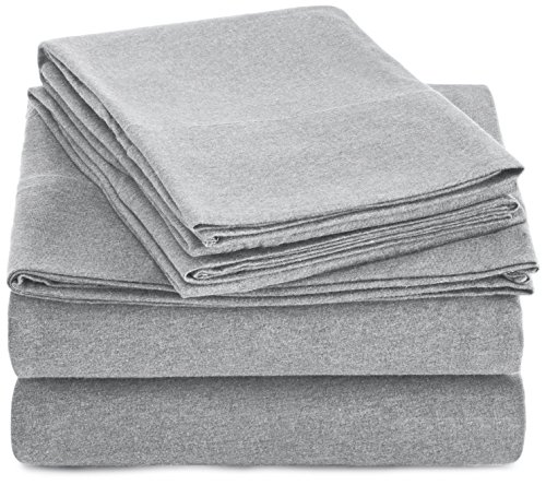 AmazonBasics Heather Cotton Jersey Bed Sheet Set - King, Light Grey