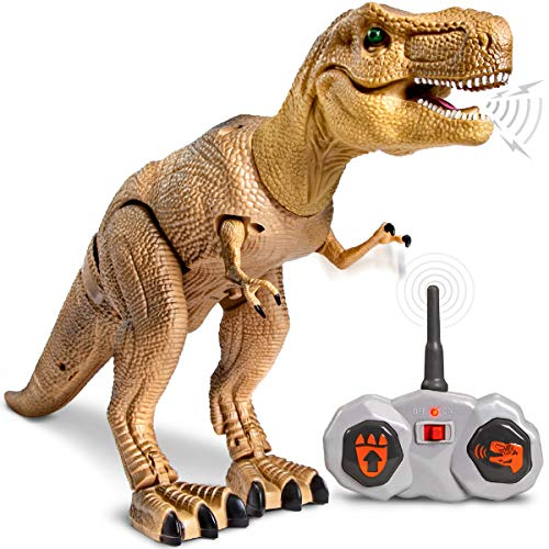 Discovery Kids Remote Control RC T Rex Dinosaur Electronic Toy Action Figure Moving & Walking Robot w/ Roaring Sounds & Chomping Mouth, Realistic Plastic Model, Boys & Girls 6 Years Old+