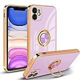 Newseego Funda Silicone Case para iPhone 11, Carcasa de Silicona Suave Antichoque Bumper para iPhone 11(6.1 Pulgadas), Soporte para Coche con Imán con Anillo de 360 Grados para iPhone 11-Púrpura