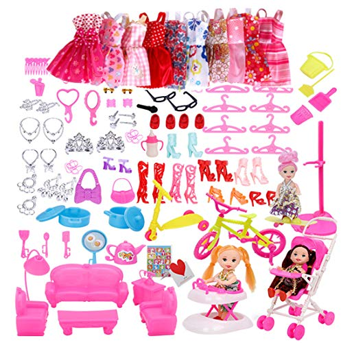 smileh Doll Clothes and Accessories for Barbie Doll 10 Pieces Fashion Dresses 108 Pieces Accessories Jewelry for 11.5 Inch Dolls for Girls Christmas Birthday Gift (Doll is not included)