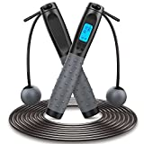 Jump Rope, Weighted Jump Rope for Fitness, Tangle-Free Ball Bearing Jumping Rope with Digital Counter Length Adjustable Speed Skipping Rope Indoor Outdoor Cordless Jump Rope for Kids Women Men