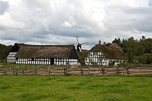 MX-XXUOUO Ett pussel med temat för världens turistattraktioner-Danmark museer väderkvarnar Ljungby, Frilandsmuseet staket gräs, speciella resesouvenirer, 1 000 stycken, 75 x 50 cm