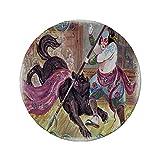 Rutschfreies Gummi-Rundmaus-Pad Japanisch Tapferer Samurai mit seiner Lanze im Kampf gegen das Wild Battle-Thema des schwarzen Dämonenwolfs Schwarzgelb 7,87 'x 7,87' x3 mm