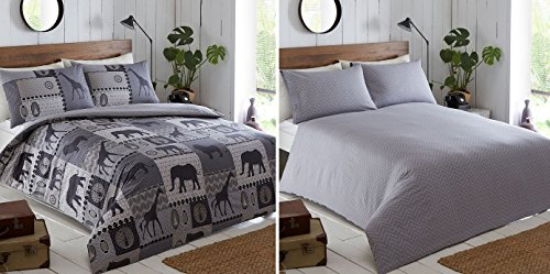 Kruger Safari Themed Duvet Cover and 2 Pillowcase Bedding Bed Set, Charcoal Grey, Double