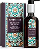 Emilia Marrakech Argan Oil Hair Treatment with organic Oil with Pump- Natural Hair Oil Serum infused with Dead Sea Minerals Frizz Control Detangling for All Types of Hair Boosts Shine - 3.38 oz