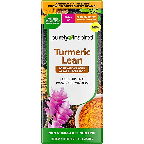 Turmeric Curcumin Weight Loss Pills for Women & Men | Purely Inspired Turmeric Lean | Lose Weight with ALA & Curcumin | Immune Support Supplement | Stimulant Free Weight Loss Supplement | 60 Count