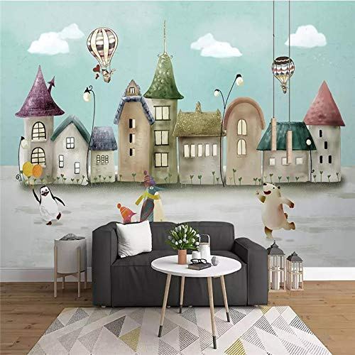 XZCWWH Hand-Painted Castle Animal Kingdom Cartoon Background Painting Professional Production Mural Photo Wallpaper Can Be Customized,200Cm(W)×140Cm(H)
