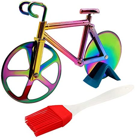 Bicycle Pizza Cutter Wheel Supuca Stainless Steel Bike Pizza Slicer with BBQ Brush and Stand product image