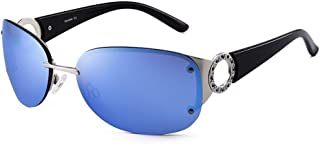 Fashion Wide Temples Sunglasses Ladies Outdoor Sunshade UV Protection Sunglasses Retro (Color : Blue)
