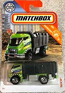 Matchbox 2019 MBX Construction Tilt 'N Tip (Garbage Truck) 34/100, Green and Black