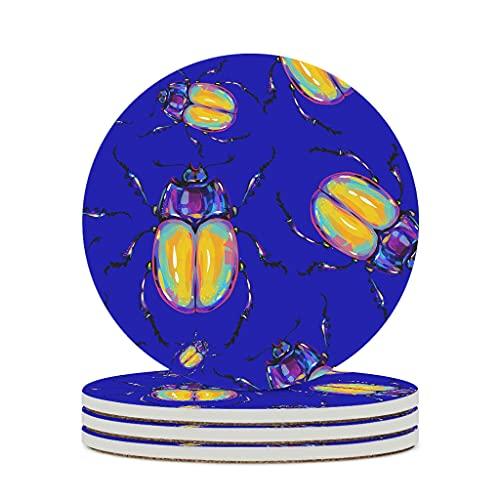 Wraill Posavasos redondos con diseño de insectos y escarabajos de cerámica azul, juego de 4/6 posavasos absorbentes con dorso de corcho para vasos y tazas, 6 unidades