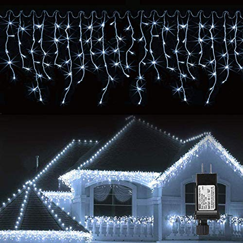 LED Icicle Lights Outdoor, 32.8ft 400 LED Icicle Christmas Lights with Timer, Memory Function, Waterproof, Connectable Eaves Curtain Fairy String Lights Cool White for Christmas, Thanksgiving, Easter