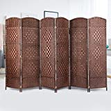 U-MAX Room Divider,6 FT Tall Weave Fiber Extra Wide Room Divider,Double Hinged,6 Panel Room Divider & Folding Privacy Screens, Freestanding Brown Room Dividers