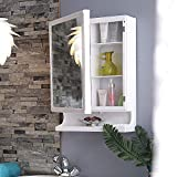 URBAN DESIRES Bathroom Cabinet with Mirror Plastic Strong and Heavy New Look 6 Shelves Storage Organiser and Shelf, 22 x 14 inches, White (Make in India)