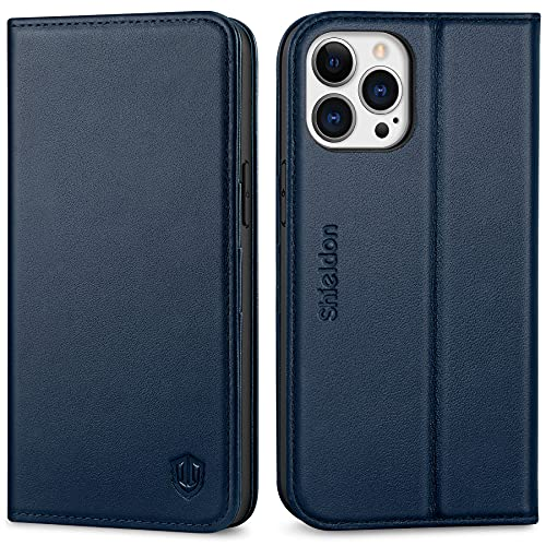 SHIELDON Cover per iPhone 13 PRO Max 5G, Custodia Vera Pelle [RFID Blocking] Portafoglio [Slot per Schede] Kickstand TPU Antiurto Compatibile con iPhone 13 PRO Max (6,7 Pollici, 2021) - Blu Navy