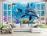 YJFBH Papel Tapiz 3D Mural Personalizado 3 D Submarino Mundo Acuario De Dibujos Animados Sala De Niños De Fondo Pinturas Murales Fondo De Pantalla No Ganado