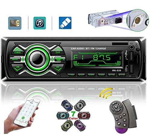 LSLYA Radio Coche, Radio Coche Bluetooth, autoradio Bluetooth admite Llamadas Manos Libres, Radio USB Coche Soporte Radio FM, Radio para Coche con Doble USB,Carga rapida,Control Remoto del Volante