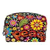 Bolsa de cosméticos para Mujeres Fondo de Pantalla con Hippie simbólico Bolsas de Maquillaje espaciosas Neceser de Viaje Organizador de Accesorios
