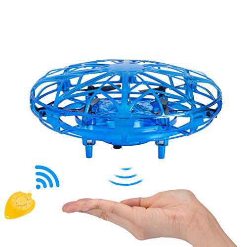 NEWYANG Mini Drone UFO Juguete para Niños Recargable UFO Drone Movimiento Control A Mano Drones Juguetes Voladores con Luces LED Sensor, Regalos para Niños y Niñas (Azul)