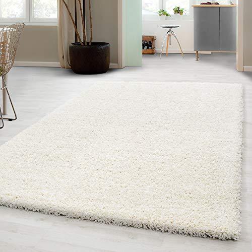 Hochflor Shaggy Teppich für Wohnzimmer Langflor Pflegeleicht Schadsstof geprüft 3 cm Florhöhe Oeko Tex Standarts Teppich, Maße:120x170 cm, Farbe:Creme