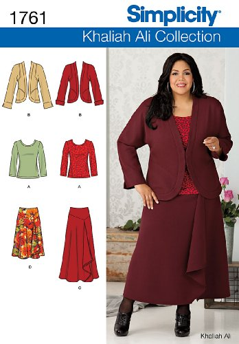 Simplicity 1761 Khaliah Ali Collection Misses' and Plus Size Separates Sewing Pattern, Size AA (10-12-14-16-18)