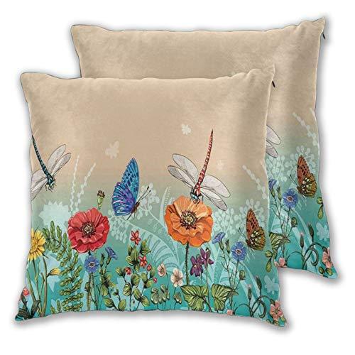 FULIYA Fundas de almohada decorativas de 2 piezas, ilustración de la naturaleza floreciente con mariposas y libélulas, patrón colorido, adecuado para cama completa, funda de cojín de 45,7 x 45,7 cm