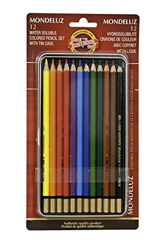 Koh-I-Noor Mondeluz Aquarelle Watercolor Pencil Set, 12 Assorted Colored Pencils in Tin & Blister-Carded (FA3722.12BC)