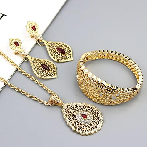ZXCM Elegante Argelia Conjuntos de Joyas de Boda Mujeres Pendiente Collar Pulsera Pulsera Bangle Arab Gold Color Bride Regalo