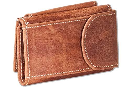 Wild Nature® Mini cartera con monedero + bolsillo para llaves con cadena y llavero de piel de búfalo natural engrasada., marrón claro (Beige) - 4742806
