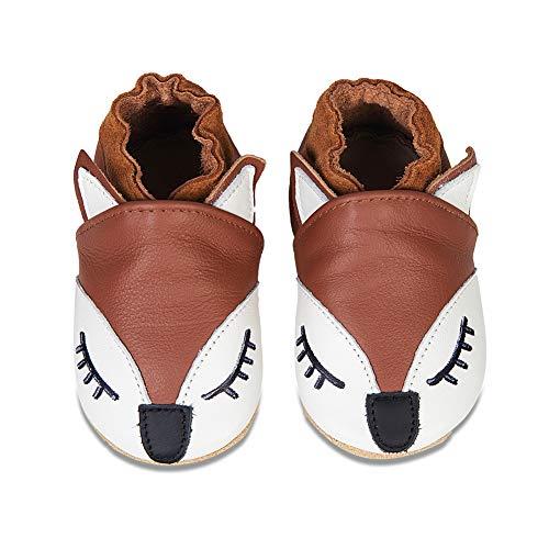 Chaussons Bébé Premiers Pas Chaussures Cuir Souple Bébé Fille Garçon Mignon Colorée Animaux Pantoufles 0-6 Mois - 2Ans(QZBY Renarde, 12-18 Mois)