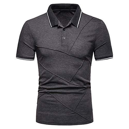 JinFZ Polo Uomo Casual Business Moderno Uomo Manica Corta Slim Fit Stretch Golf Baseball Sport Uomo Camicia Sportiva Classico Basic Colletto Kent Uomo Henley Shirt G-Gray2 S