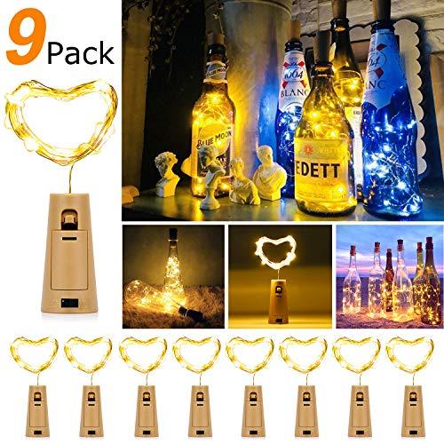 9 Stück LED Flaschenlicht,9* 20 LEDs 2M Flaschen Licht Lichterkette Kork Flaschen Kupferdraht Lichterkette DIY- Flaschen Lichter für Hochzeit Party Romantische Deko (Warme Weiß)