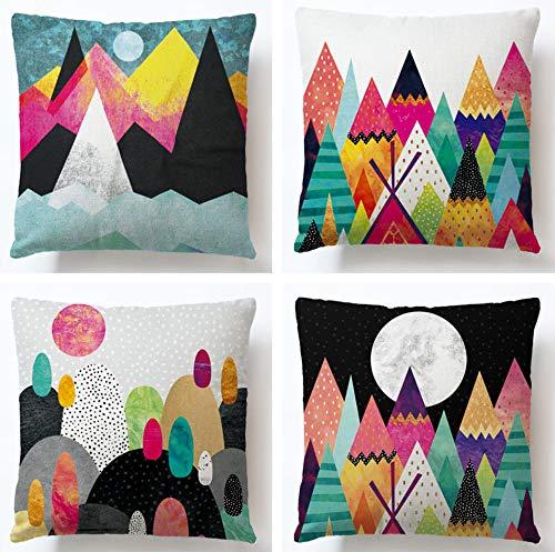 JgZATOA Cartoon Geometry Mountain PillowCaseCoverCushionHomeBedroomSofaCushionCoverCarDecor45X45CmSetOf4