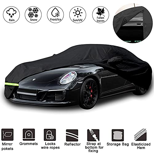 "Yixin Waterproof Car Covers for 1998-2009 Porsche 911 Carrera (996/997 Series) 190T Covers Customer Fit 100% Waterproof Windproof Strap & Double Door Zipper Up to 180"" L (Black)"