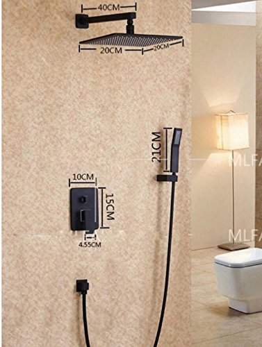 Bijjaladeva Antieke badkamer regendouche kraan systeem typen zwart volledige messing inbouw douche in wand armatuur set douchekop 20 cm + telefoontelefoon