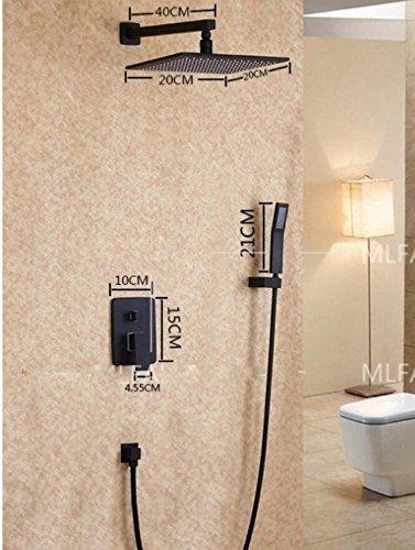 Bijjaladeva Antike Badezimmer Regen Mixer Dusche Regendusche Hahn System TippenSchwarz Voller Messing Unterputz Dusche in Wand Armatur Set Duschkopf 20 cm + Telefonhörer