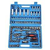 HISUNY - 108 Stück Ratschenschlüssel-Set Kombinationsschlüssel-Werkzeugset 1/4in 1/2in CR40...