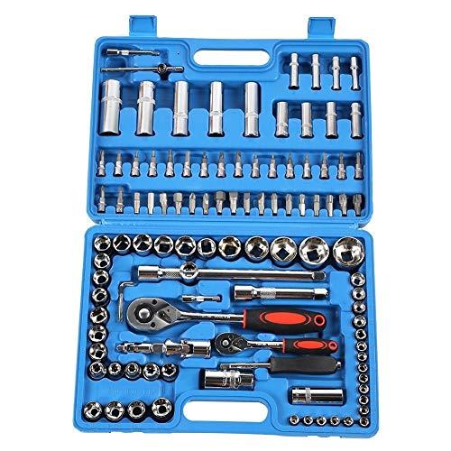 Juego de llaves de trinquete, 108 piezas Juego de llaves de trinquete 1/4 en 1/2 pulgadas Juego de llaves de vaso de acero CR40 Estuche de herramientas + Caja Kits de herramientas manuales