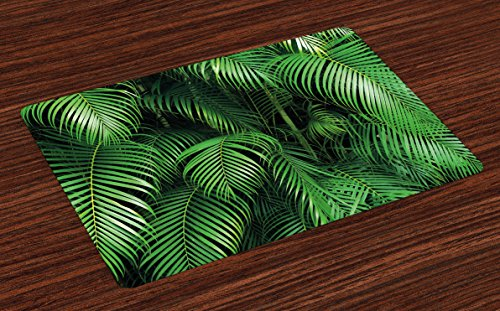 Lunarable Green Place Mats Set of 4, Tropical Exotic Palm Tree Leaves Branches Botanical Photo Jungle Garden Nature Eco Theme, Washable Fabric Placemats for Dining Room Kitchen Table Decor, Green