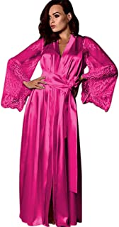 Women's Satin Robes Pure Color Long Kimono Bathrobes Soft Nightgown with Lace Sleeve